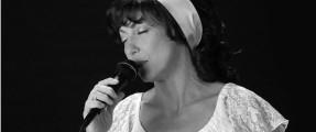 Roxanne as Karen Carpenter with headband
